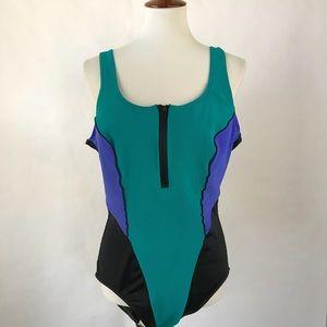 VINTAGE 90's colorblock zipper swimsuit! Size 20